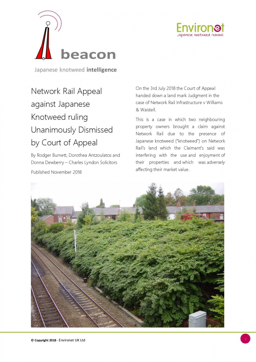 Network Rail Appeal against Japanese Knotweed ruling Unanimously Dismissed