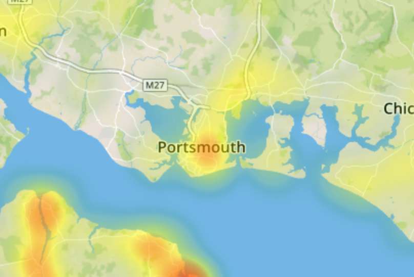 Map of Japanese knotweed in Portsmouth
